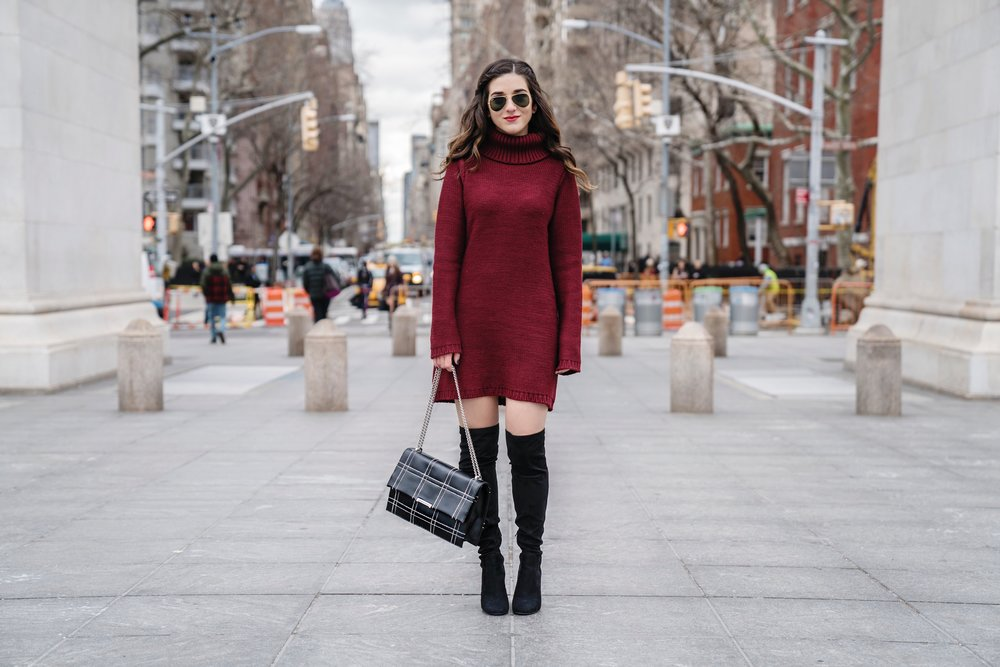 Maroon Sweater Dress OTK Boots My Biggest Blogging Mistake Esther Santer Fashion Blog NYC Street Style Blogger Outfit OOTD Trendy Red Girl Women Sunglasses RayBan Aviators Shopping Wearing Zara Casual Hair Bag Grid Purse Photoshoot New York City Inspo.JPG