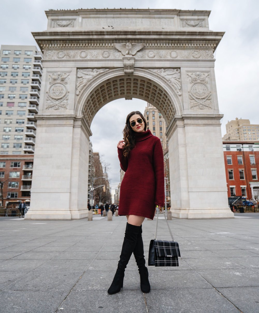 Maroon Sweater Dress OTK Boots My Biggest Blogging Mistake Esther Santer Fashion Blog NYC Street Style Blogger Outfit OOTD Trendy Red Girl Women Sunglasses RayBan Aviators Wearing Shopping Zara Casual Inspo New York City Photoshoot Grid Bag Purse Hair.JPG