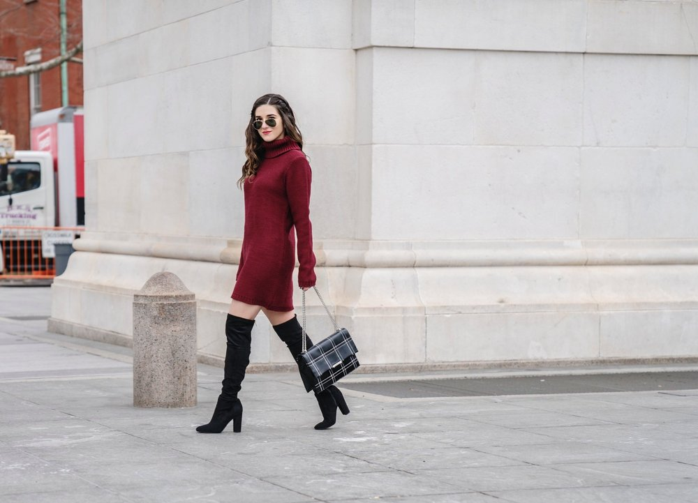 Maroon Sweater Dress OTK Boots My Biggest Blogging Mistake Esther Santer Fashion Blog NYC Street Style Blogger Outfit OOTD Trendy Red Girl Women Sunglasses RayBan Aviators Shopping Wearing Zara Casual Bag Grid Purse Photoshoot New York City Inspo Hair.JPG