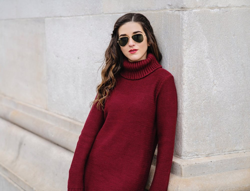Maroon Sweater Dress OTK Boots My Biggest Blogging Mistake Esther Santer Fashion Blog NYC Street Style Blogger Outfit OOTD Trendy Red Girl Women Sunglasses RayBan Aviators Shopping Wearing Zara Casual Hair Bag Grid Purse Inspo Photoshoot New York City.JPG