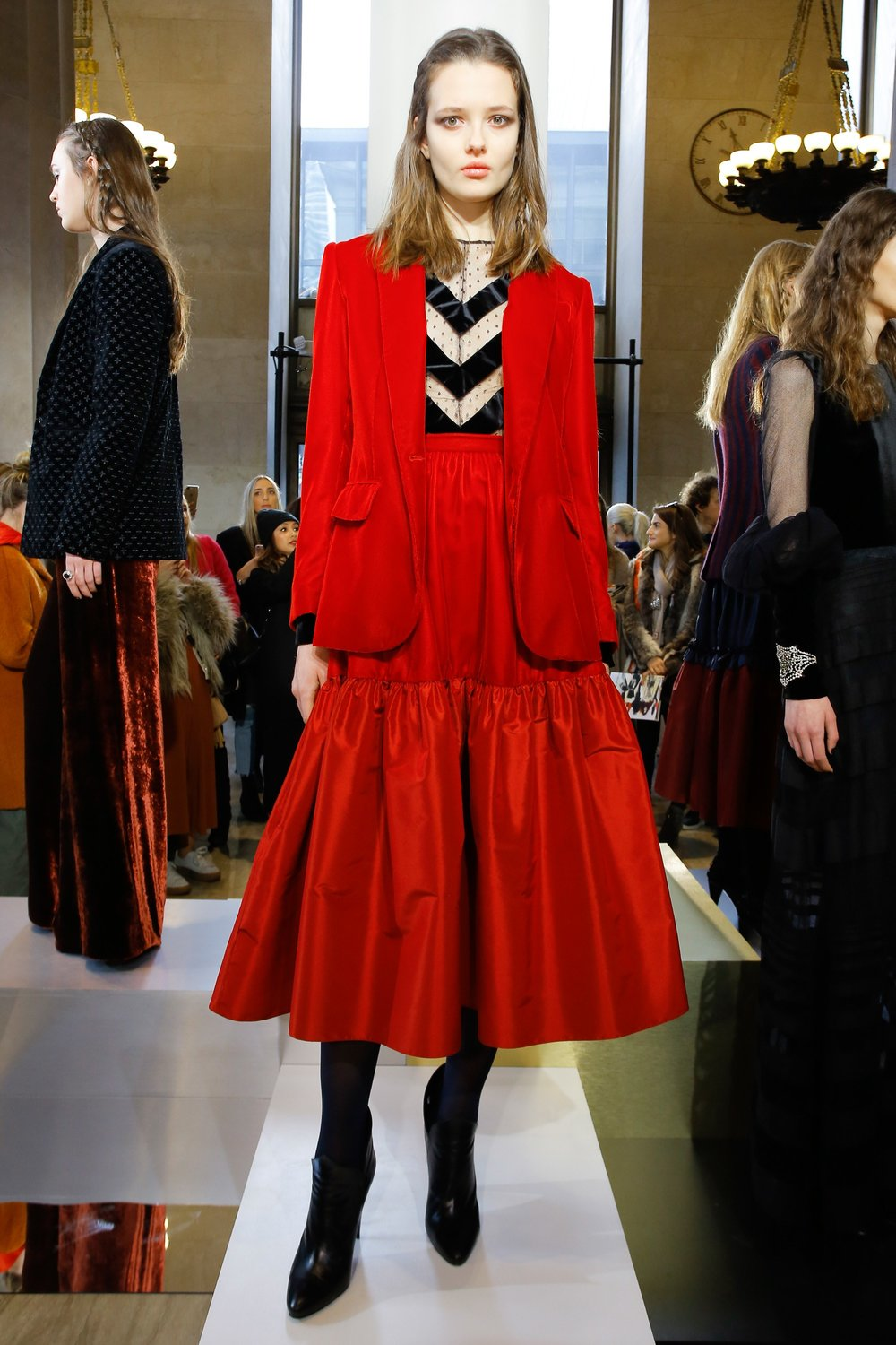 Jill Stuart Fashion Presentation Fall Winter 2017 Esther Santer Fashion Blog Louboutins & Love NYC Street Style Blogger Outfit OOTD Trendy Runway Run Way NYFW Leather Lace Boots Velvet Black Colors Colorful Pinstripes Skirt Shirt Coat Jacket Red Trend.jpg