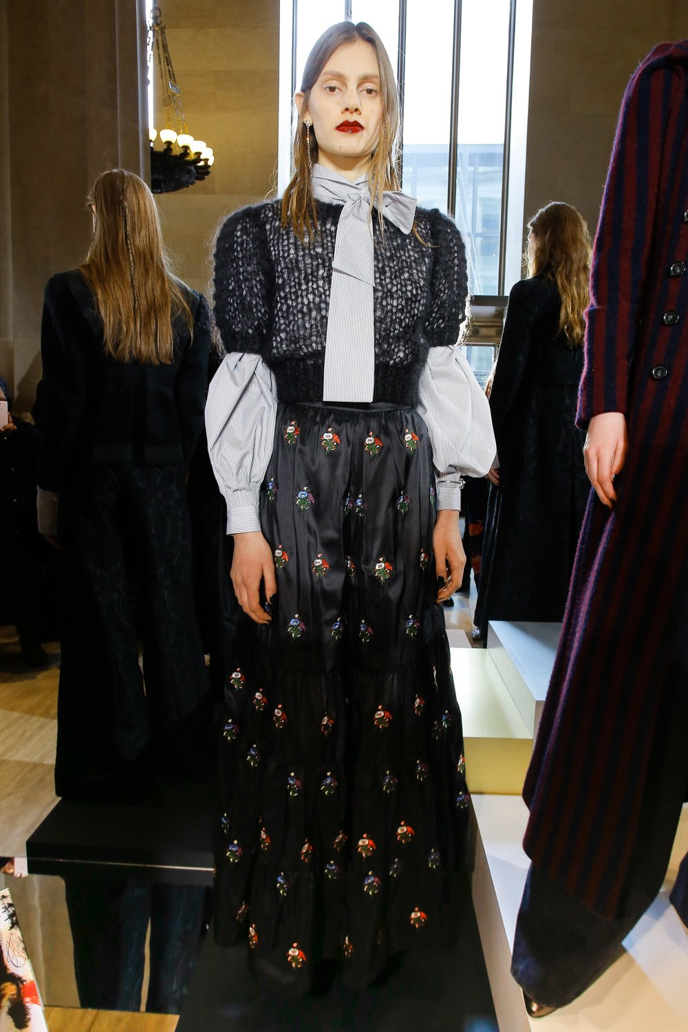 Jill Stuart Fashion Presentation Fall Winter 2017 Esther Santer Fashion Blog Louboutins & Love NYC Street Style Blogger Outfit OOTD Trendy Runway Run Way NYFW Leather Lace Boots Velvet Black Colors Colorful Pinstripes Skirt Coat Jacket Sunglasses Cool.jpg