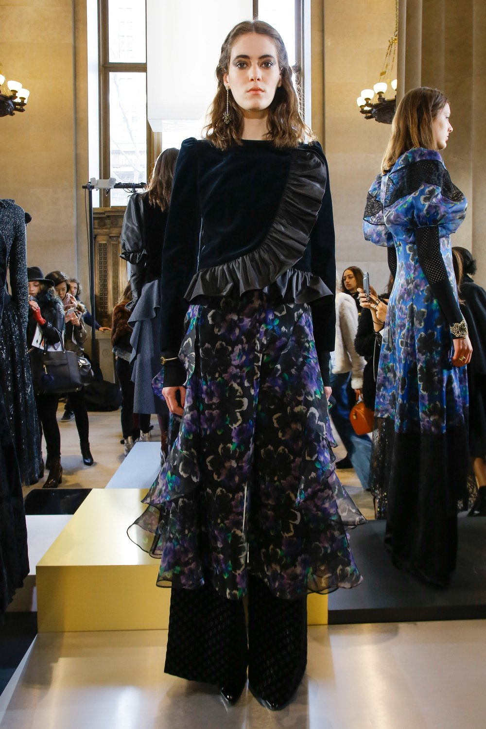 Jill Stuart Fashion Presentation Fall Winter 2017 Esther Santer Fashion Blog Louboutins & Love NYC Street Style Blogger Outfit OOTD Trendy Runway Run Way NYFW Leather Lace Boots Velvet Black Colors Colorful Pinstripes Skirt Shirt Coat Jacket Ruffles.jpg