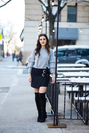6d39d56d623 Feb 1 Grey Ruffle Sleeve Sweater    Shop Trescool · Esther Santer