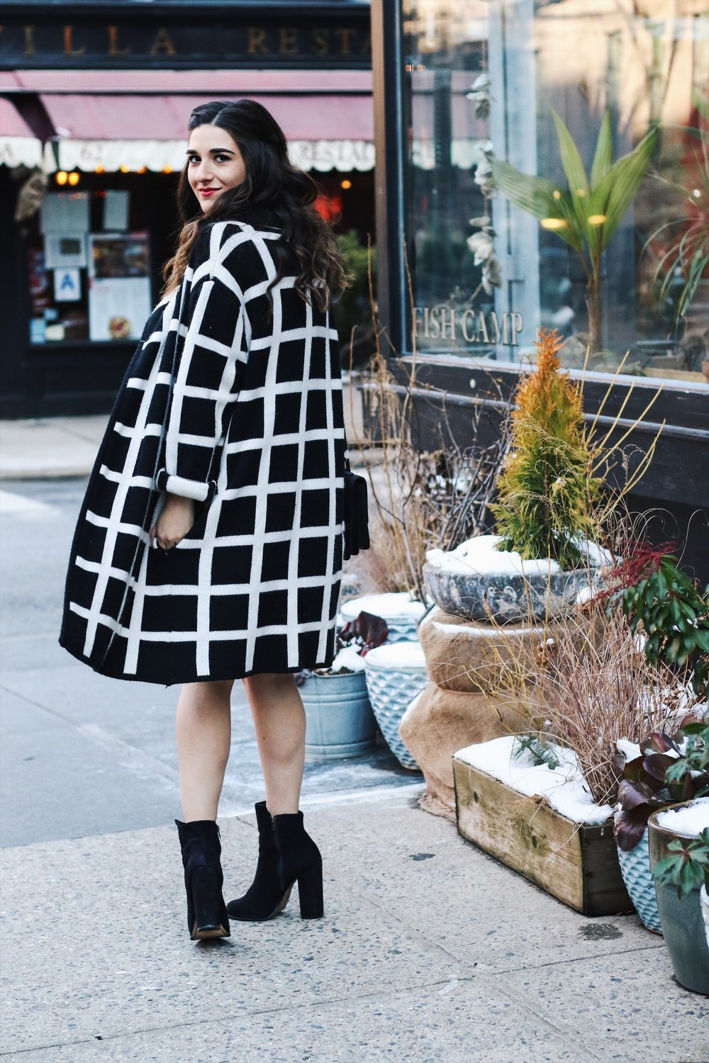Slip Dress Oversized Cardigan The Job That Got Away Esther Santer Fashion Blog NYC Street Style Blogger Outfit OOTD Trendy Blue Black White Girl Women Bag Purse Henri Bendel Shop Buy Shoes Ankle Boots Winter Inspo Wearing Hair Layers Photoshoot Beauty.JPG