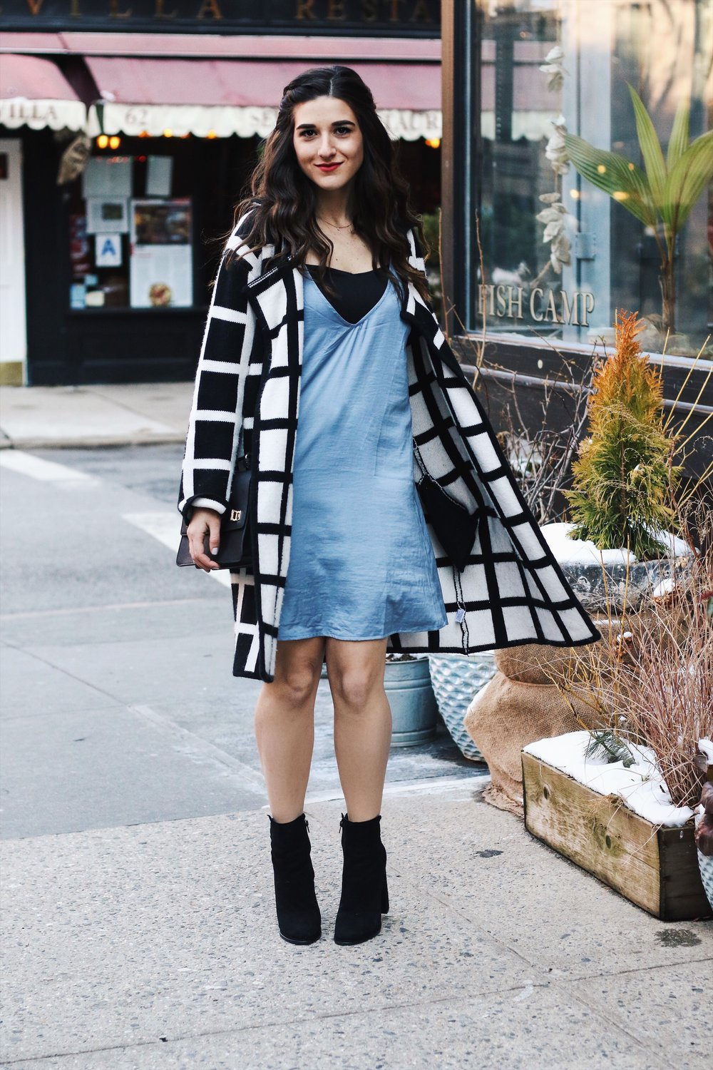 Slip Dress Oversized Cardigan The Job That Got Away Esther Santer Fashion Blog NYC Street Style Blogger Outfit OOTD Trendy Blue Black White Girl Women Bag Purse Henri Bendel Shop Buy Shoes Ankle Boots Winter Inspo Wearing Layers Hair Photoshoot Beauty.JPG