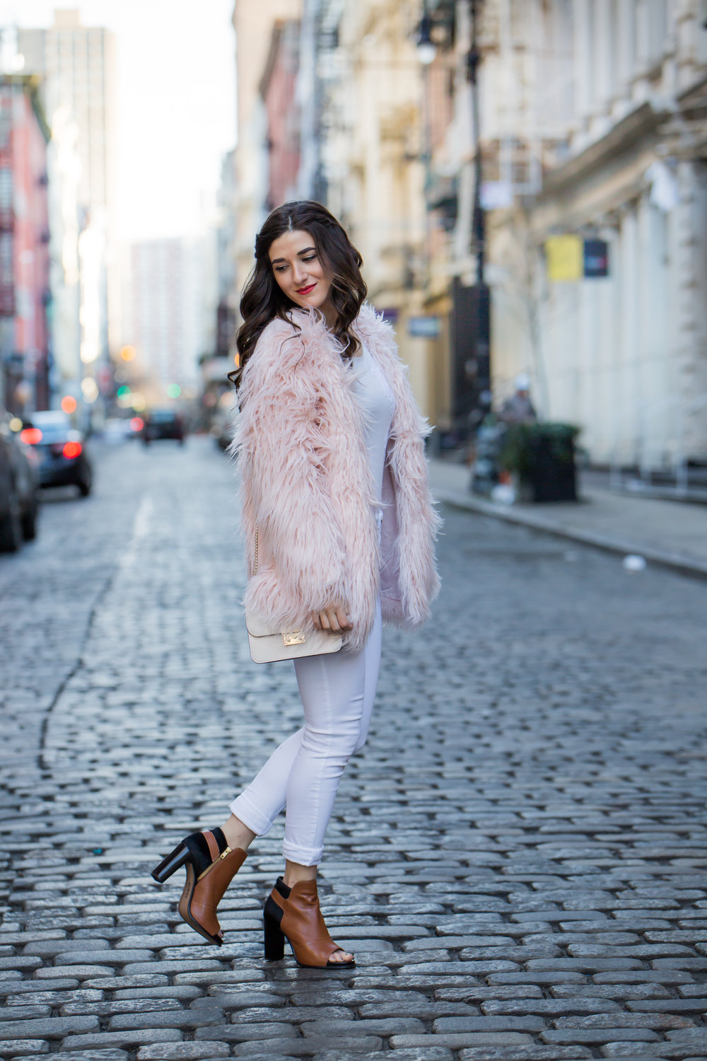 Pink Faux Fur Jacket White Jeans The Best Career Advice Esther Santer Fashion Blog NYC Street Style Blogger Outfit OOTD Trendy Winter Whites Henri Bendel Bag Tan Booties Girl Women Shop Sale Hair Shoes What To Wear Wearing Model Accessories Photoshoot.jpg