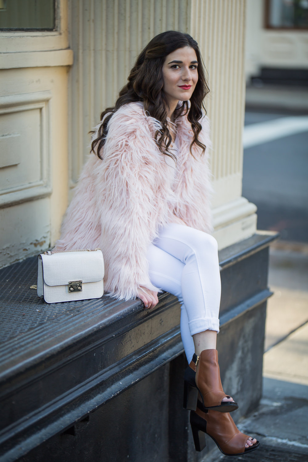 Pink Faux Fur Jacket White Jeans The Best Career Advice Esther Santer Fashion Blog NYC Street Style Blogger Outfit OOTD Trendy Winter Whites Henri Bendel Bag Tan Booties Girl Women Shop Sale Hair What To Wear Wearing Photoshoot Model Accessories Shoes.jpg