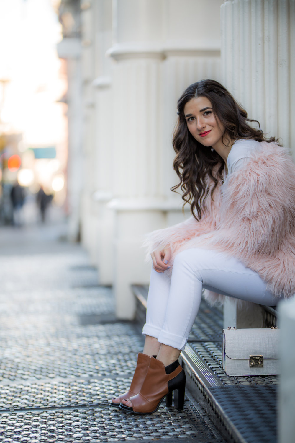 Pink Faux Fur Jacket White Jeans The Best Career Advice Esther Santer Fashion Blog NYC Street Style Blogger Outfit OOTD Trendy Winter Whites Henri Bendel Bag Tan Booties Girl Women Shop Sale Hair Shoes Wearing What To Wear Model Accessories Photoshoot.jpg