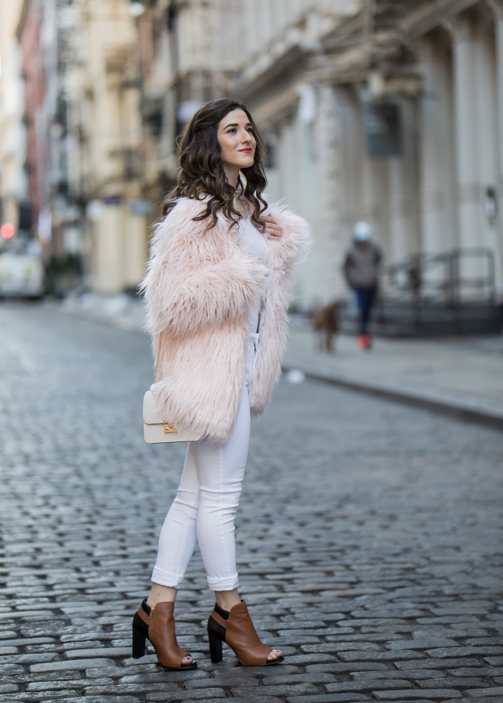 Pink Faux Fur Jacket White Jeans The Best Career Advice Esther Santer Fashion Blog NYC Street Style Blogger Outfit OOTD Trendy Winter Whites Henri Bendel Bag Tan Booties Girl Women Shop Sale Hair Shoes Wearing What To Wear Model Photoshoot Accessories.jpg