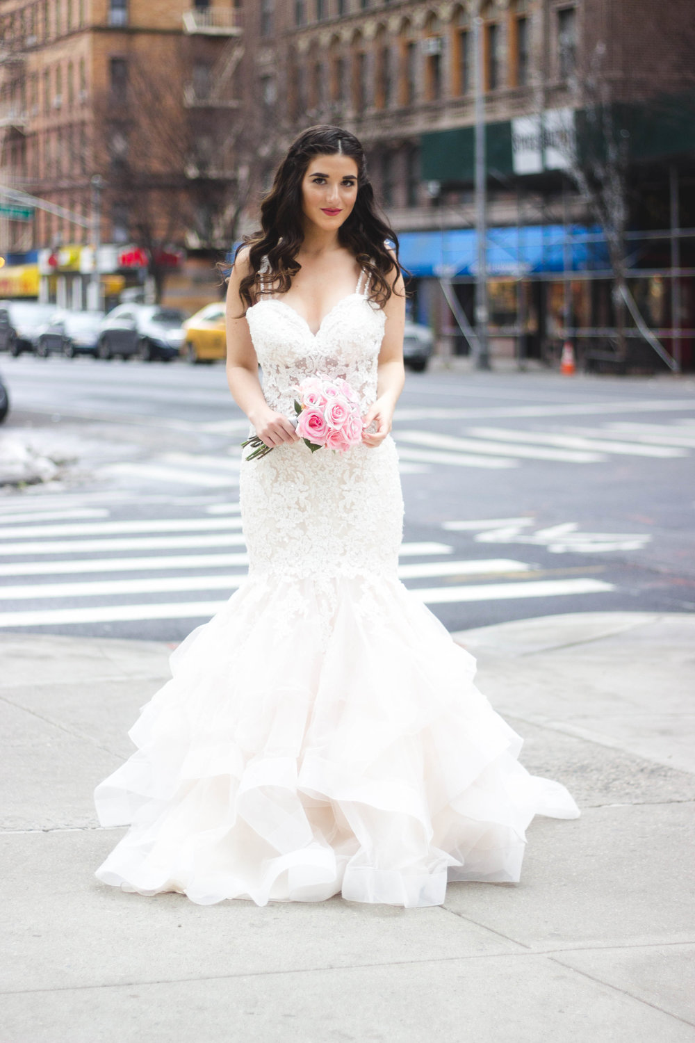 Playing Dress Up With Morilee Bridal Esther Santer Fashion Blog NYC Street Style Blogger Outfit OOTD Trendy Wedding Dress Gown White Dreamy Modern Timeless Beautiful Train Pink Flowers Bouquet Hair Hairstyle Beauty  Makeup Lace Mermaid Trumpet Flare.jpg