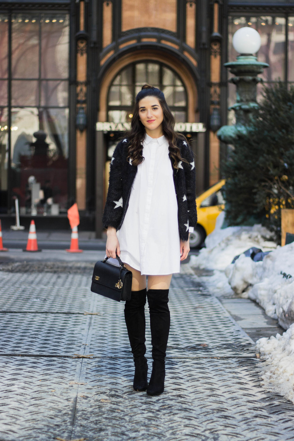 Trescool Star Jacket How NYC Changed My Style Esther Santer Fashion Blog NYC Street Style Blogger Outfit OOTD Trendy Henri Bendel Black Bag Over The Knee Boots Topknot Bun Women Girl Zara White Button Down Shirt Dress Shoes Purse Wearing Shopping Shop.jpg
