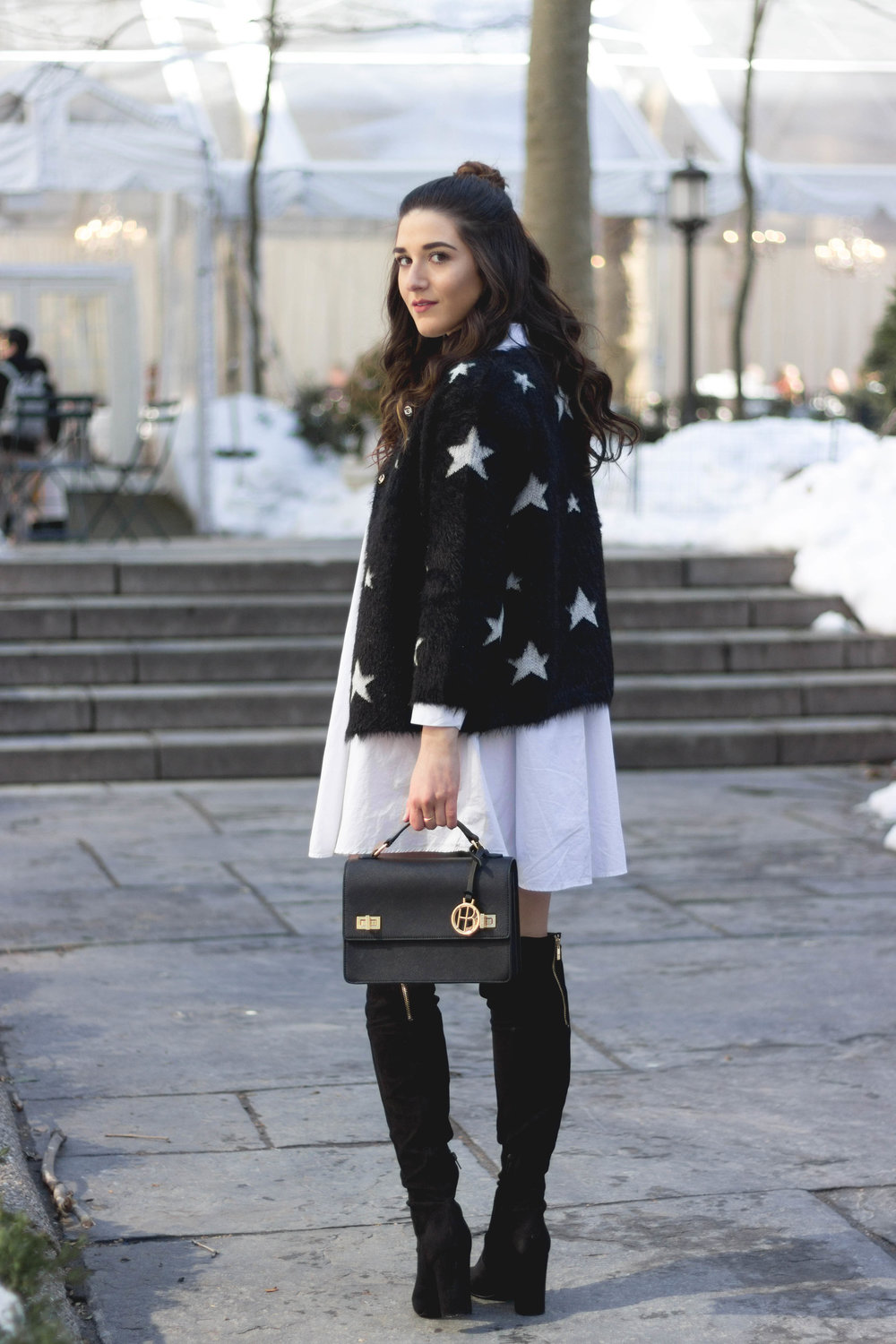 Trescool Star Jacket How NYC Changed My Style Esther Santer Fashion Blog NYC Street Style Blogger Outfit OOTD Trendy Henri Bendel Black Bag Over The Knee Boots Topknot Bun Women Shoes Girl Zara White Button Down Shirt Dress Purse Wearing Shopping Shop.jpg