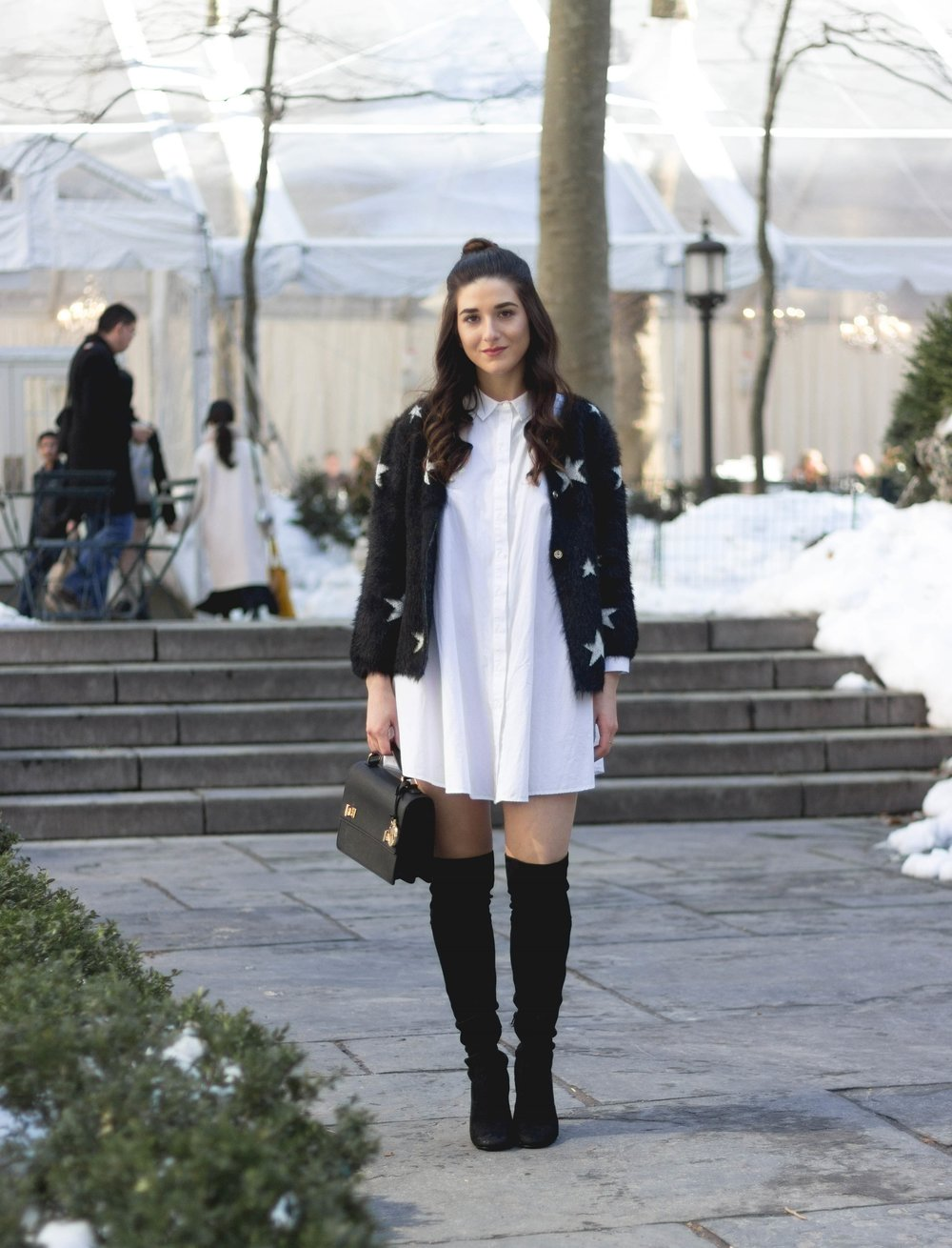 Trescool Star Jacket How NYC Changed My Style Esther Santer Fashion Blog NYC Street Style Blogger Outfit OOTD Trendy Henri Bendel Black Bag Over The Knee Boots Bun Topknot Purse Women Shoes Girl Zara White Button Down Shirt Dress Wearing Shop Shopping.jpg