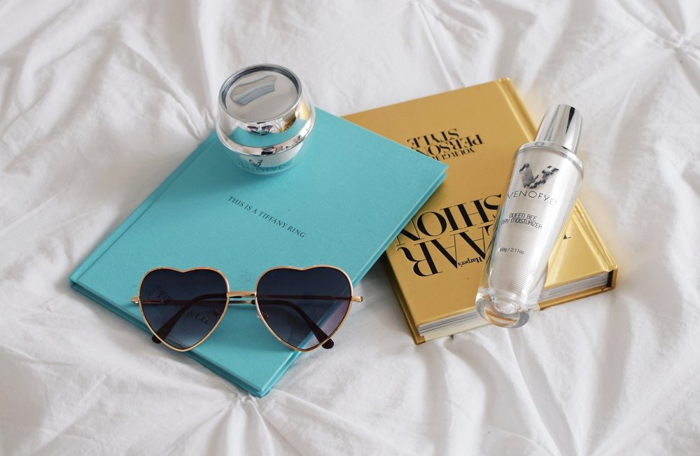 Bee Venom Skincare Venofye Esther Santer Fashion Blog NYC Street Style Blogger Trendy Celebrities Product Review Neck Liift Moisturizer Sunglasses Lotion Skin Anti-Aging Wrinkles Fine Lines Nature Botox Books Flatlay Photography Packaging Beauty Face.JPG