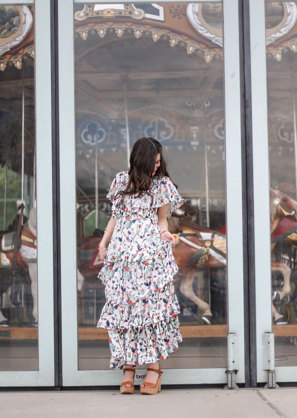 Ruffle Floral Maxi Dress Why You Should Trust Me Esther Santer Fashion Blog NYC Street Style Blogger Outfit OOTD Trendy Summer Outdoors Pretty Girly Photoshoot Feminine Beautiful Model Accessories Shop Women Wedges Sandals Shoes Gold Bracelets Jewelry.JPG