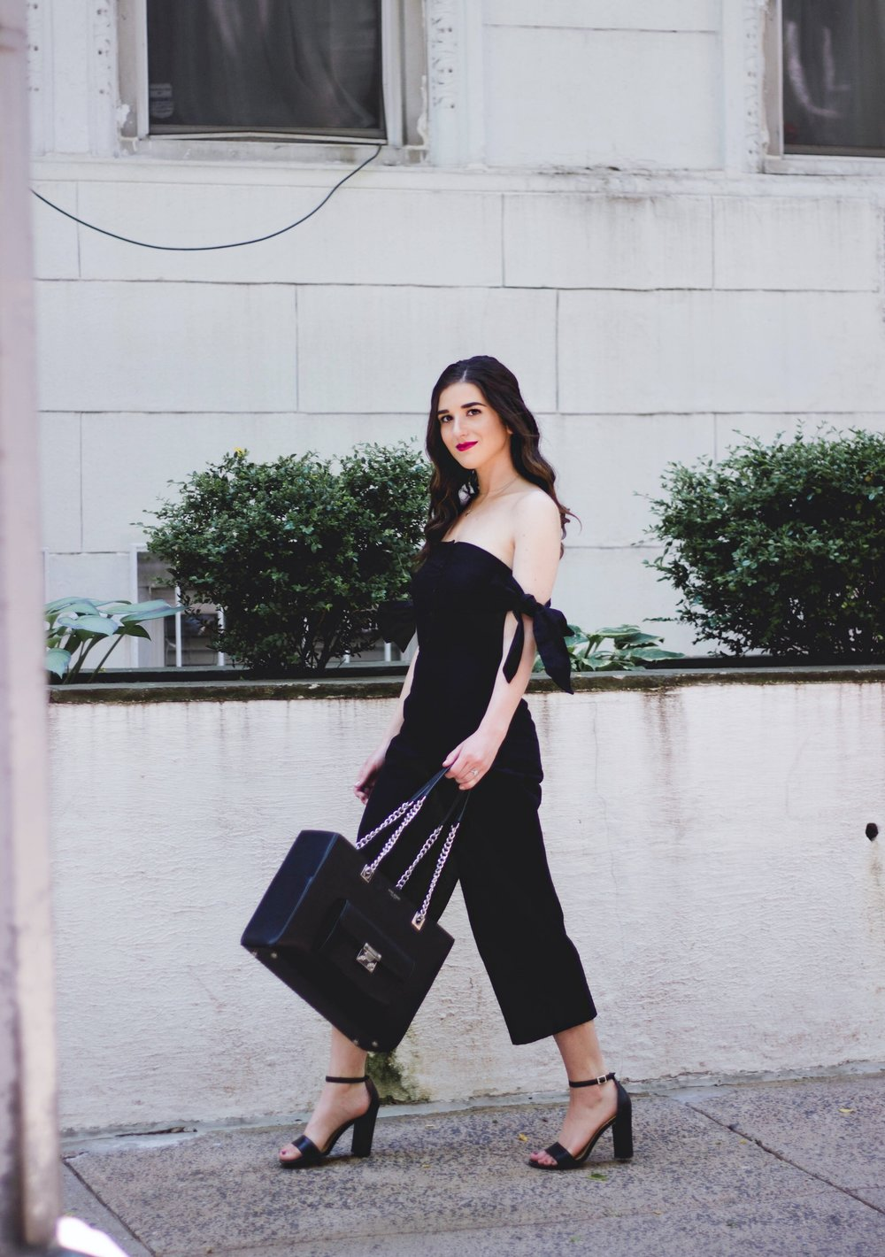 Black Asos Jumpsuit Prioritizing Life And Blog Esther Santer Fashion Blog NYC Street Style Blogger Outfit OOTD Trendy Monochrome Bag Purse Henri Bendel Beauty Model Photoshoot Shoes Wear Heels Sandals Open Toe  Hair Red Lips Pretty Summer Pants Girl.JPG