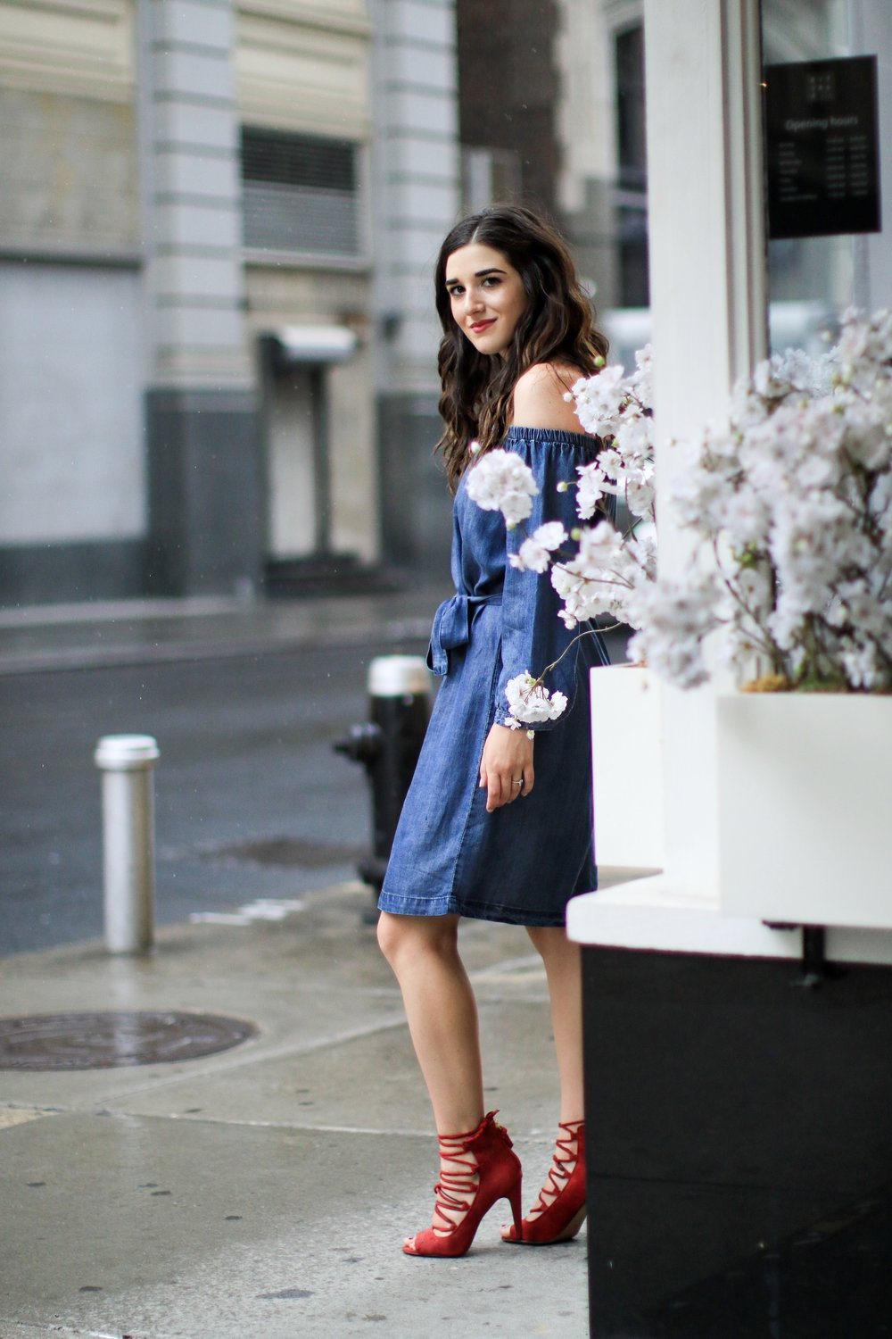 Trescool Chambray Dress 10 Ways To Overcome Writer's Block Esther Santer Fashion Blog NYC Street Style Blogger Outfit OOTD Trendy Denim Red Shoes Lace Up Girl Women Cold Shoulder Summer Beautiful Pretty Shopping French Connection Hair City Photoshoot.JPG