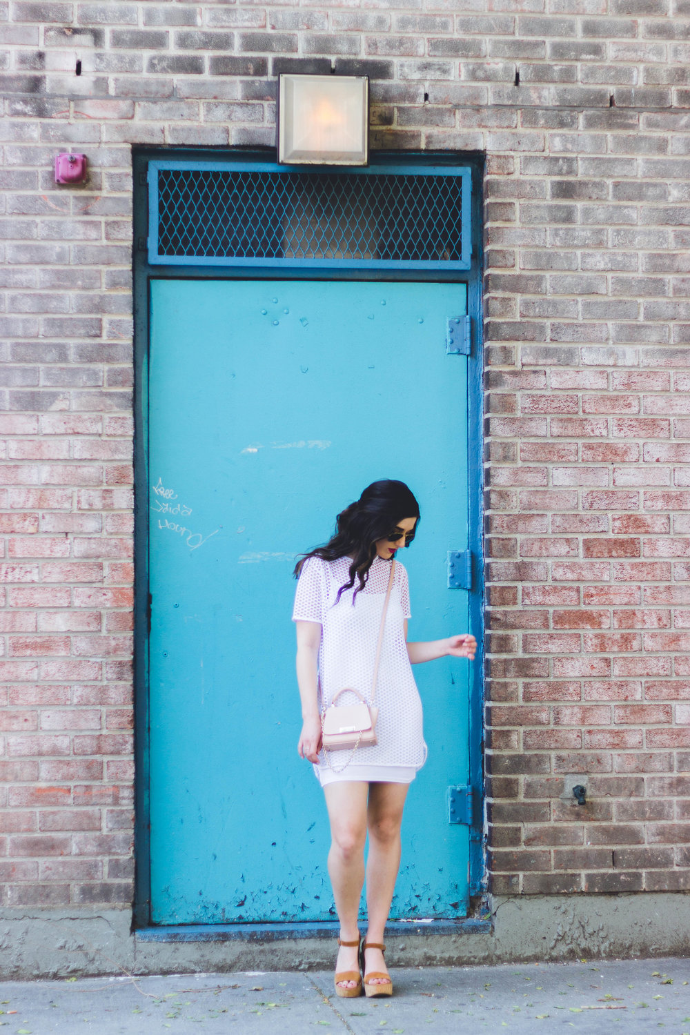White Mesh Dress Love My Fiance Hate Being Engaged Esther Santer Fashion Blog NYC Street Style Blogger Outfit OOTD Trendy Summer Cork Wedges ASOS Dolce Vita Aviators Sunglasses RayBan Girl Women Look Inspiration Hair Beauty Model Photoshoot  New York.jpg