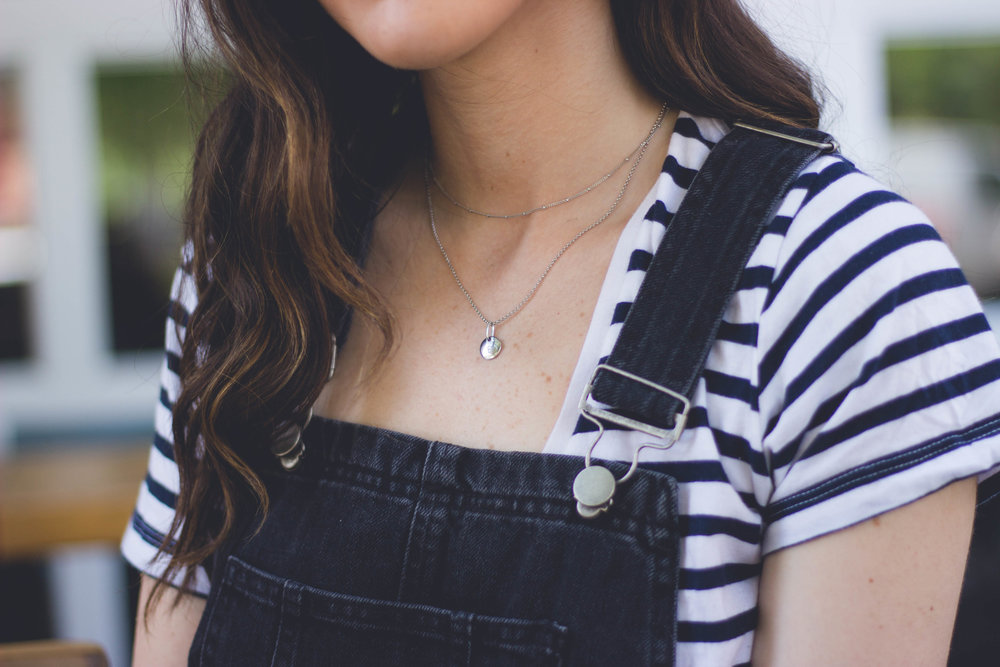 Dress Overalls Striped Tee The Creepiest Messages I've Received As A Blogger Esther Santer Fashion Blog NYC Street Style Blogger Outfit OOTD Trendy ASOS Photoshoot Sandals Girl Women New York  City Model Pretty Silver Necklace Mejuri Shoes Accessories.jpg