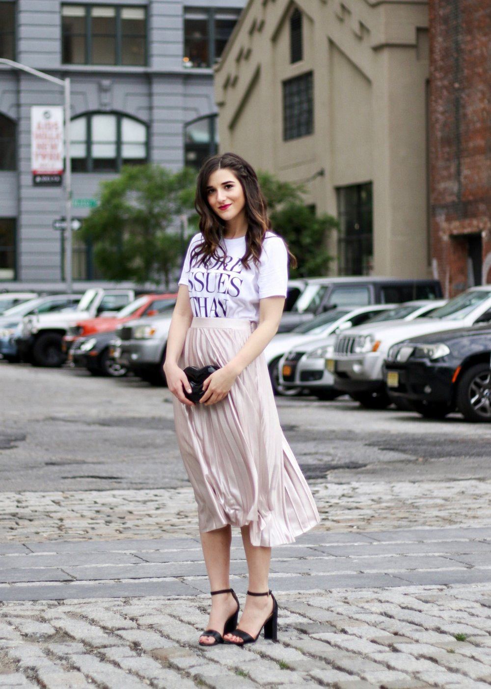 Metallic Midi Skirt + Graphic Tee 5 Mistakes Brands Make When Pitching Influencers Esther Santer Fashion Blog NYC Street Style Blogger Outfit OOTD Trendy Rachel Roy Shopping Girl Women Tshirt Shoes Heels Ivanka Trump Black Lips  Bag Clutch Pretty Cute.JPG