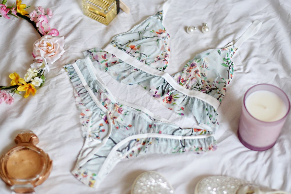 Lingerie Wedding Registry Cosabella Esther Santer Fashion Blog NYC Street Style Blogger Outfit OOTD Trendy Pretty Floral Blue Pink Girly Women Pajamas PJs Comfortable Sleep Sexy Bras Bralette Underwear Panties Wedding Season Bridal Shower Garter White.JPG
