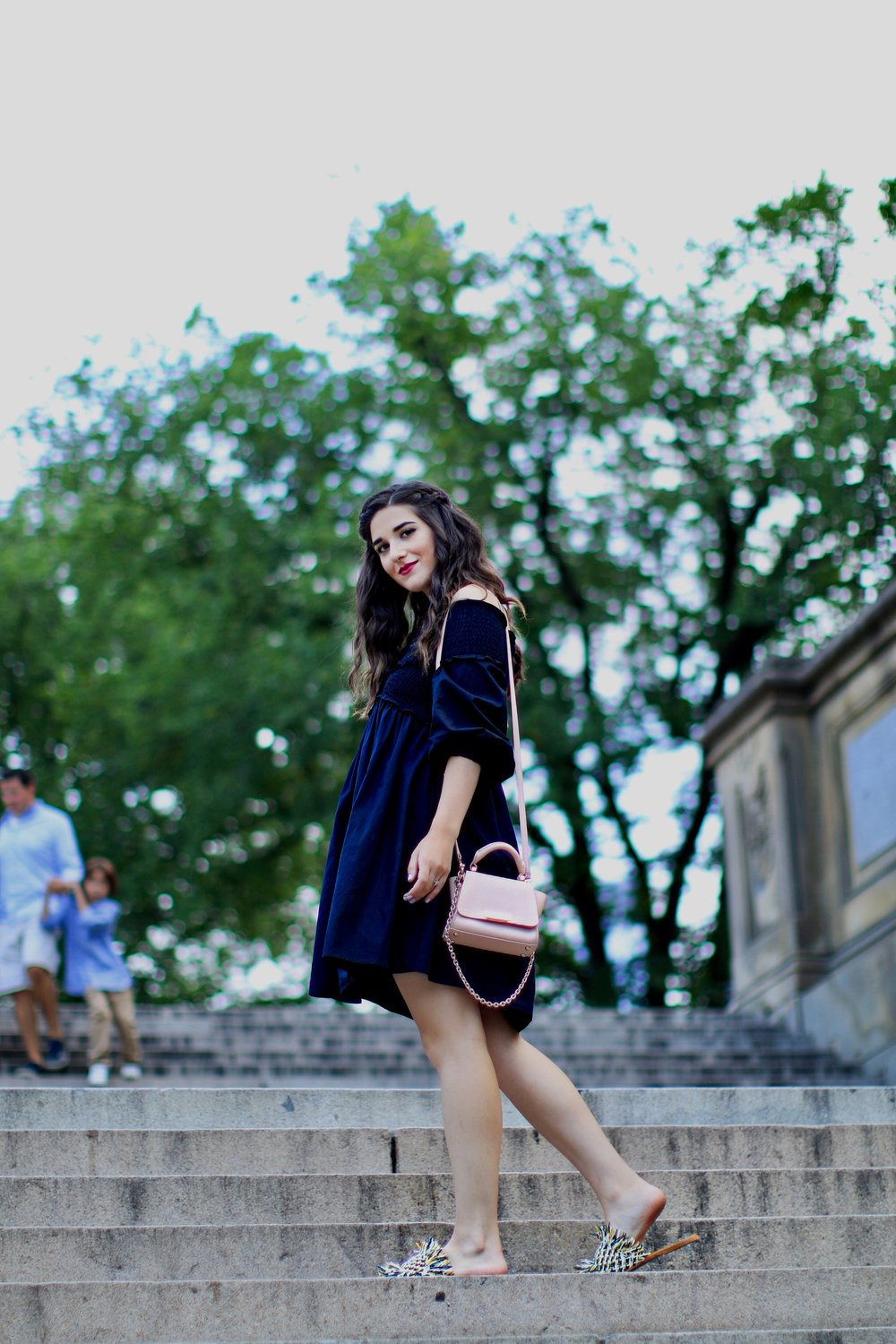 Navy Dress Fringe Slides 27 Blogging Tips For My 27th Birthday Esther Santer Fashion Blog NYC Street Style Blogger Outfit OOTD Trendy Girl Women Pink Bag Zac Posen Purse Summer Sandals What To Wear  Inspiration Inspo Shoes Girly Feminine New York City.JPG