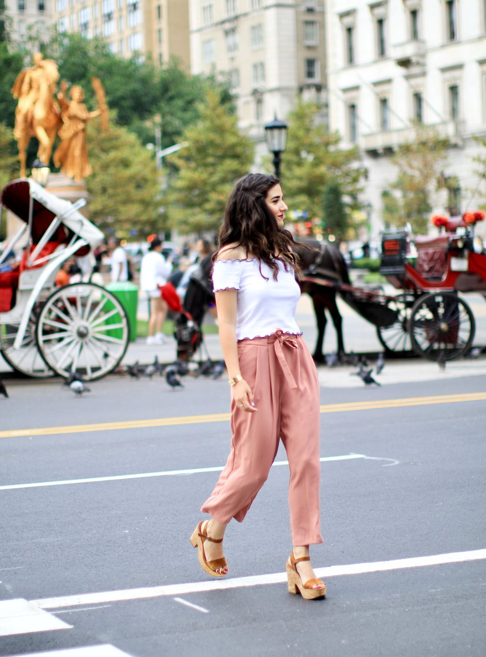 Pink Palazzo Pants + Ruffled Crop Top The Shockingly Hardest Thing About Planning A Wedding Esther Santer Fashion Blog NYC Street Style Blogger Outfit OOTD Trendy Crop Top Ruffles Trousers Shoes Wedges Dolce Vita Zara Feminine Henri  Bendel Jewelry.JPG