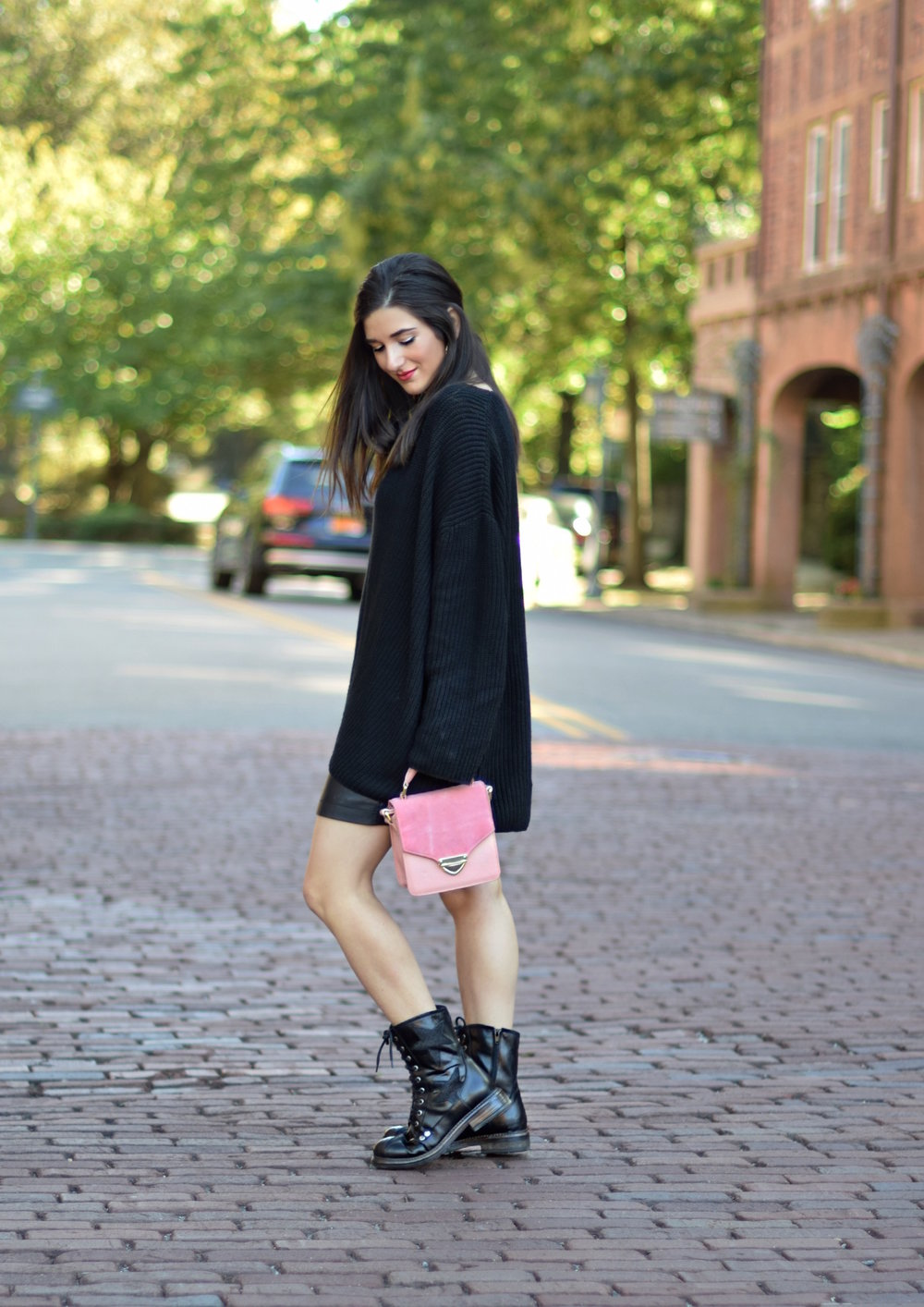Oversized Black Sweater Star Combat Boots 10 Holiday Gift Ideas Esther Santer Fashion Blog NYC Street Style Blogger Outfit OOTD Trendy All Black Fall Winter Look Comfortable Cozy Urban Outfitters Shopping Girl  Feminine Women Shoes Pink Handbag Pretty.JPG