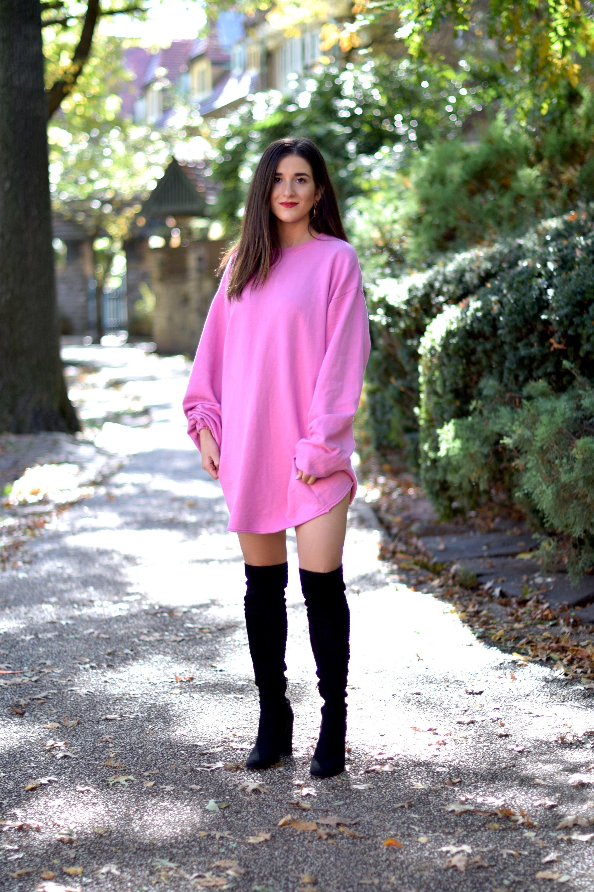 6d8c4de00c29 Pink Sweatshirt Dress + Black OTK Boots    Blogging Before The Days ...