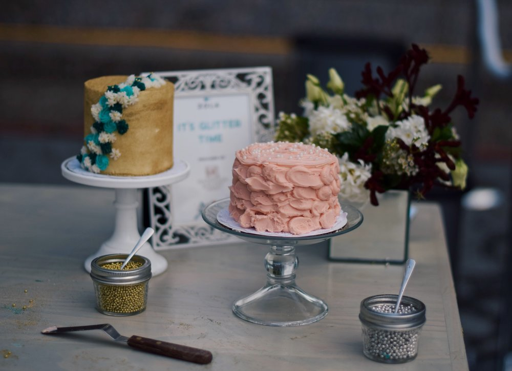 Cake Decorating With Zola Esther Santer Fashion Blog NYC Street Style Blogger Outfit OOTD Trendy Balloons Event Registry On Wheels Anything For Love Pink Buttercream Frosting Pearls Glitter Delicious Magnolia Bakery Bride Wedding Registry Vanilla Coat.JPG