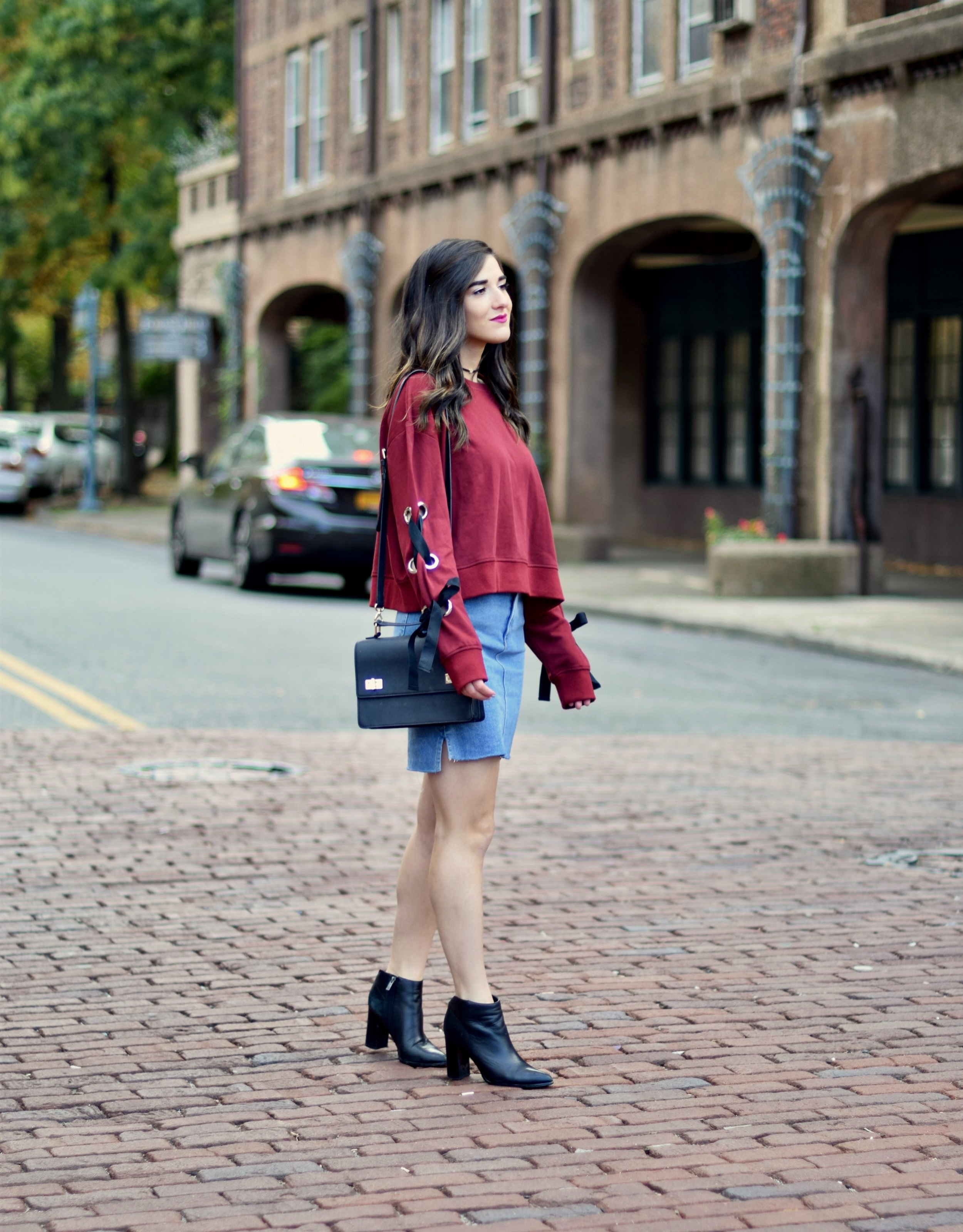 8d12ae25919 Red Lace-Up Sleeve Sweatshirt Denim Skirt 10 Things I m Thankful For This