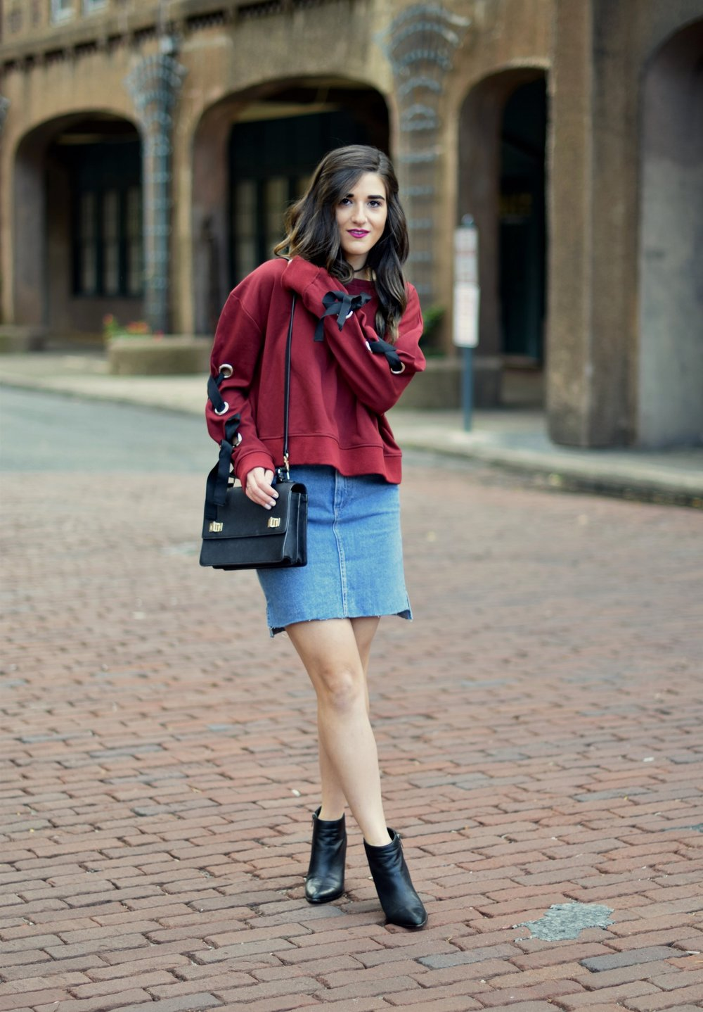 Red Lace-Up Sleeve Sweatshirt Denim Skirt 10 Things I'm Thankful For This Year Esther Santer Fashion Blog NYC Street Style Blogger Outfit OOTD Trendy Girl Women Choker Black Booties Hair Brunette Henri  Bendel West 57th Schoolbag Winter Look Fall Shop.jpg