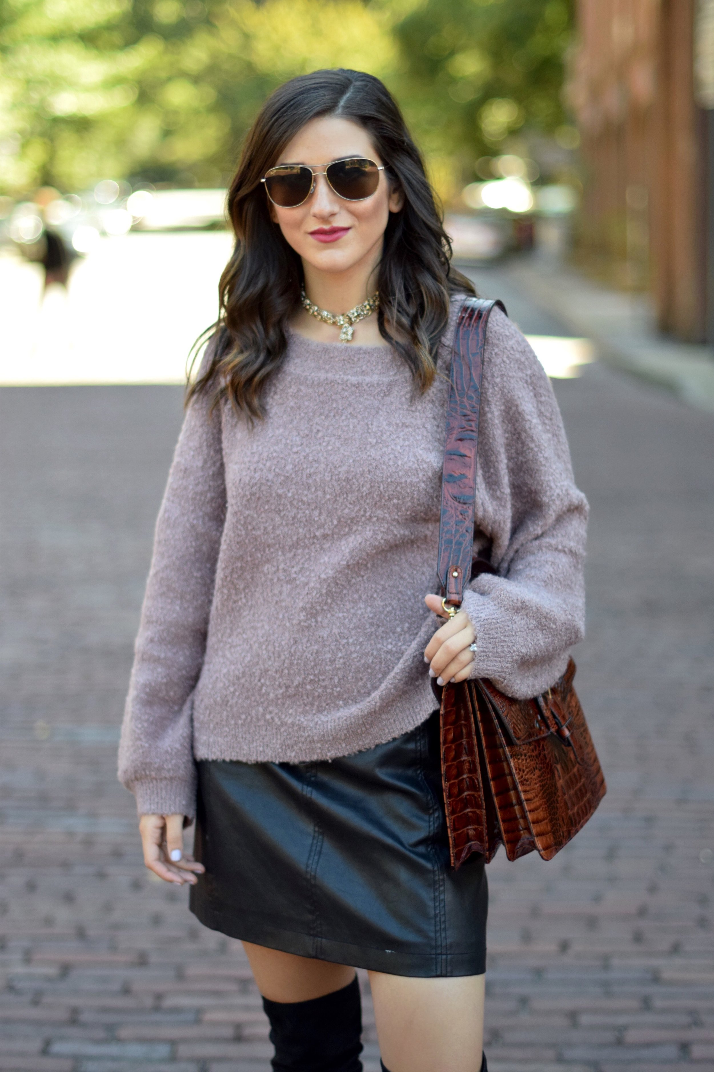 27a6819b2da Purple Sweater Black Leather Skirt 8 Tips On Switching Your Blog Name  Esther Santer Fashion Blog