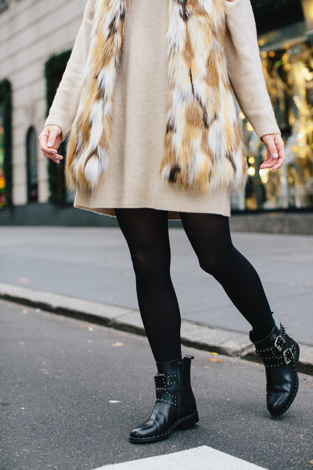Calico Fur Vest Black Buckle Booties 5 Bad Habits To Ditch In The New Year Esther Santer Fashion Blog NYC Street Style Blogger Outfit OOTD Trendy DSW Shoes Women Girl Holiday Season Window Shopping New York City Tights Beige Sweater Dress  Winter Cozy.JPG