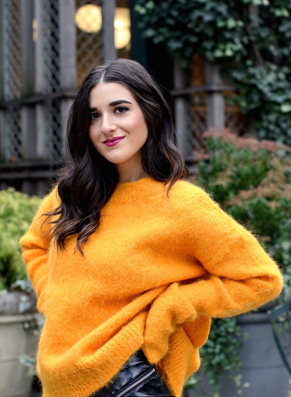 Yellow Sweater Pleather Skirt Why You Should Think Before You Unfollow Esther Santer Fashion Blog NYC Street Style Blogger Outfit OOTD Trendy Cozy Winter Look Girl Women Oversized Top New York City Instagram Tips DSW Studded Boots H&M Topshop Details.jpg