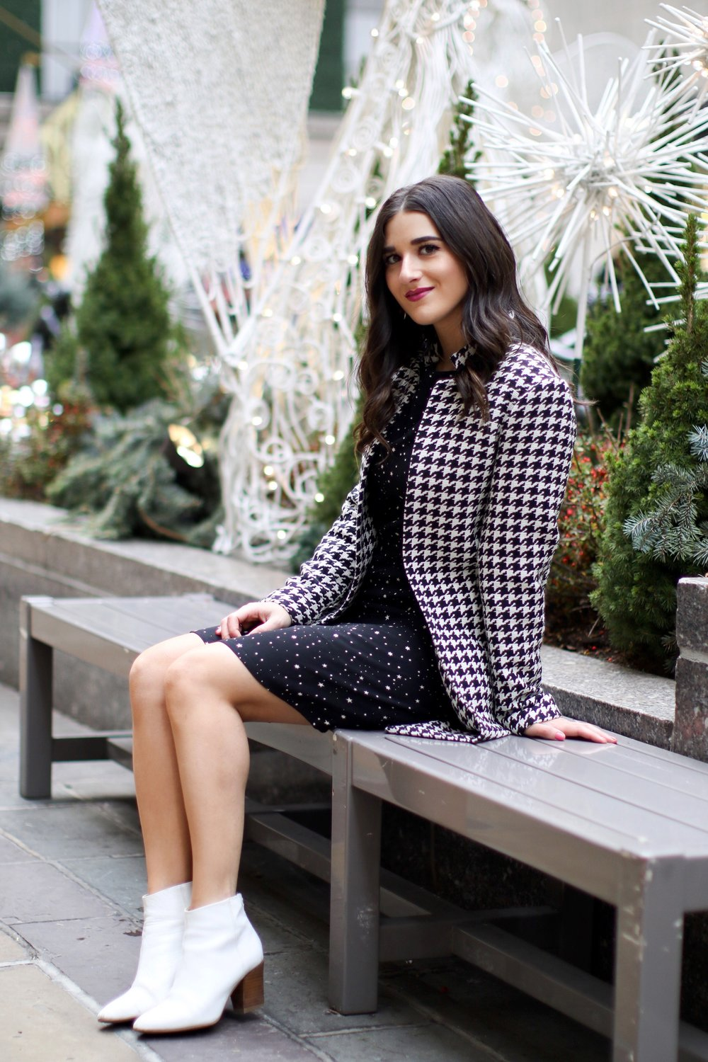 Houndstooth Coat White Booties The Pros And Cons Of Freelancing Esther Santer Fashion Blog NYC Street Style Blogger Outfit OOTD Trendy Holiday Season New York City Photoshoot Pretty Hair Black Star Dress Cute Shoes H&M Zara Girl Women Winter Wear Shop.jpg
