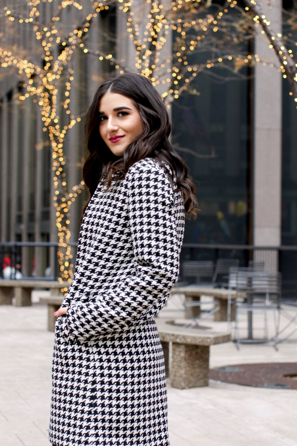 Houndstooth Coat White Booties The Pros And Cons Of Freelancing Esther Santer Fashion Blog NYC Street Style Blogger Outfit OOTD Trendy Holiday Season New York City Photoshoot Pretty Hair Black Star Dress Cute Shoes H&M Zara Girl Winter Women Wear Shop.jpg