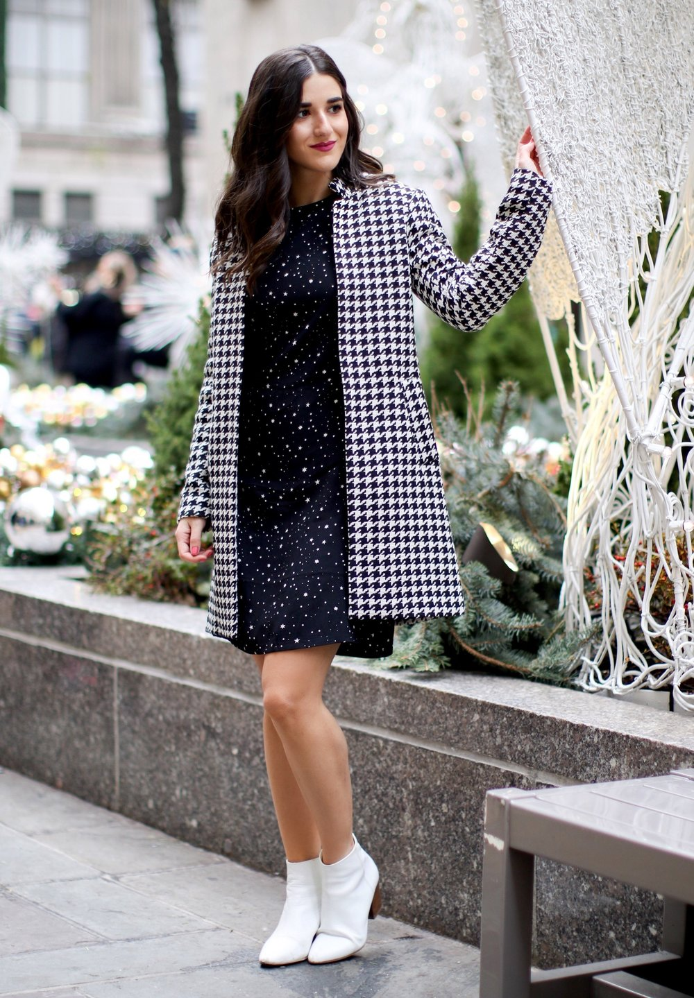 Houndstooth Coat White Booties The Pros And Cons Of Freelancing Esther Santer Fashion Blog NYC Street Style Blogger Outfit OOTD Trendy Holiday Season New York City Photoshoot Pretty Hair Black Star Dress Cute Shoes Shop Wear H&M Zara Girl Winter Women.jpg