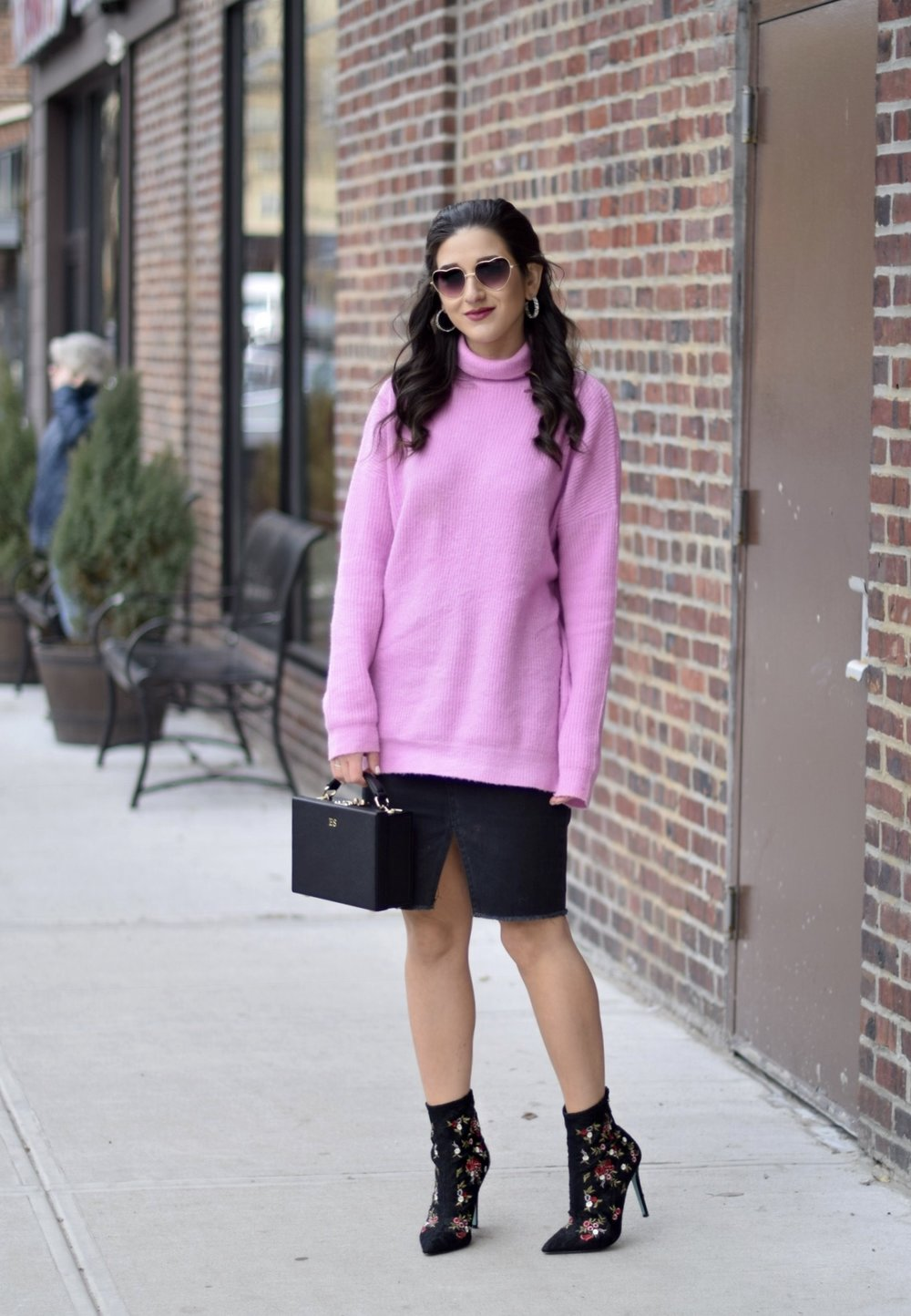 Surviving Winter With ASOS 5 Hardest Parts Of Blogging Esther Santer Fashion Blog NYC Street Style Blogger Outfit OOTD Trendy Pink Sweater Black Denim Skirt Box Bag Floral Booties Betsey Johnson Girl Women Purse Heart Sunglasses Booties Accesories .jpg