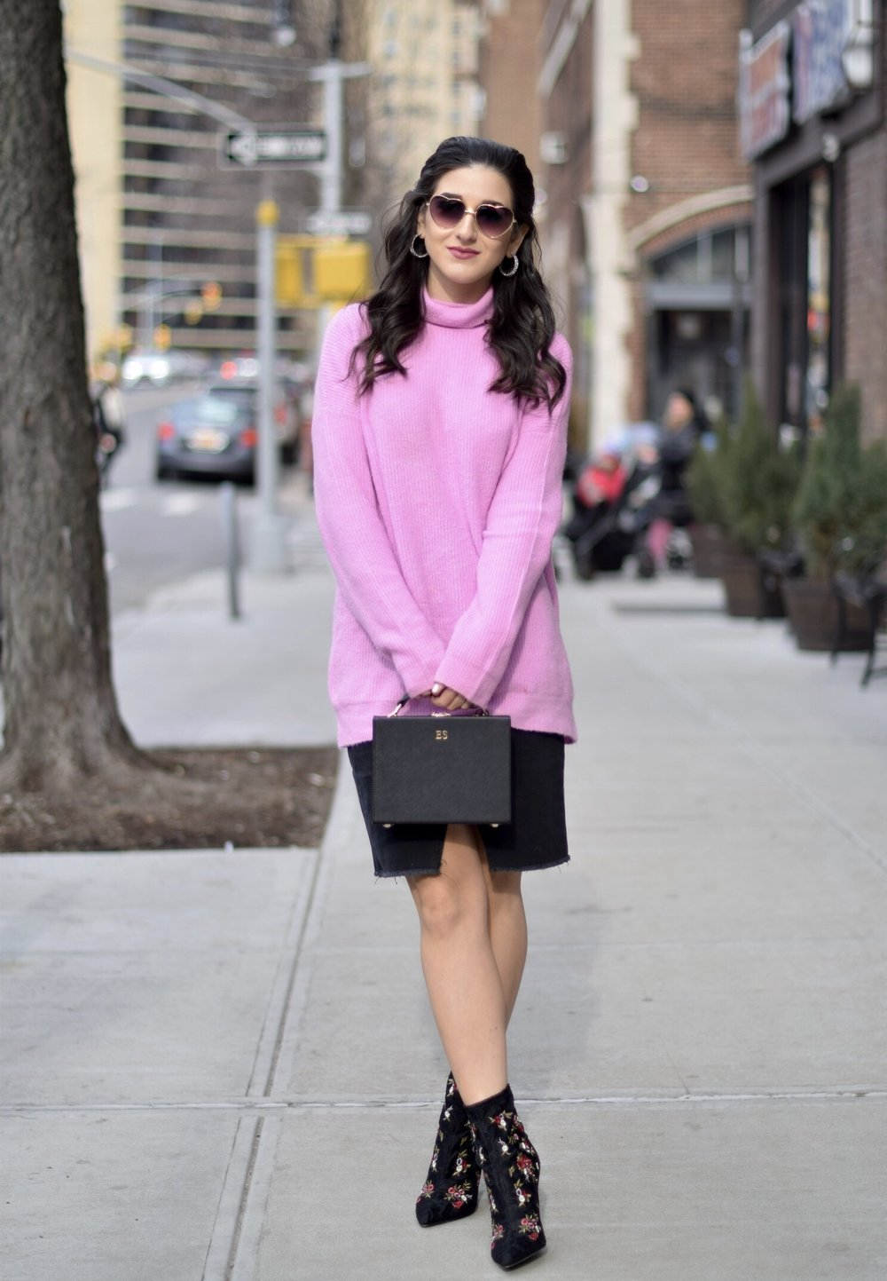 Surviving Winter With ASOS 5 Hardest Parts Of Blogging Esther Santer Fashion Blog NYC Street Style Blogger Outfit OOTD Trendy Pink Sweater Black Denim Skirt Box Bag Floral Booties Betsey Johnson Girl Women Purse Heart Sunglasses  Booties Accesories.jpg