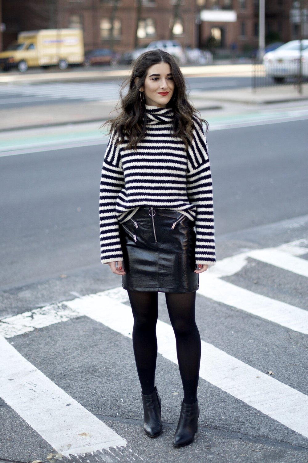 Striped Turtleneck Sweater + Pleather Skirt The Right Way To Ask Someone To Meet For Coffee Esther Santer Fashion Blog NYC Street Style Blogger Outfit OOTD Trendy Girl Women Black White Tights Ankle Booties Winter Hoops Earrings Wavy Hair Shop  Shoes.jpg
