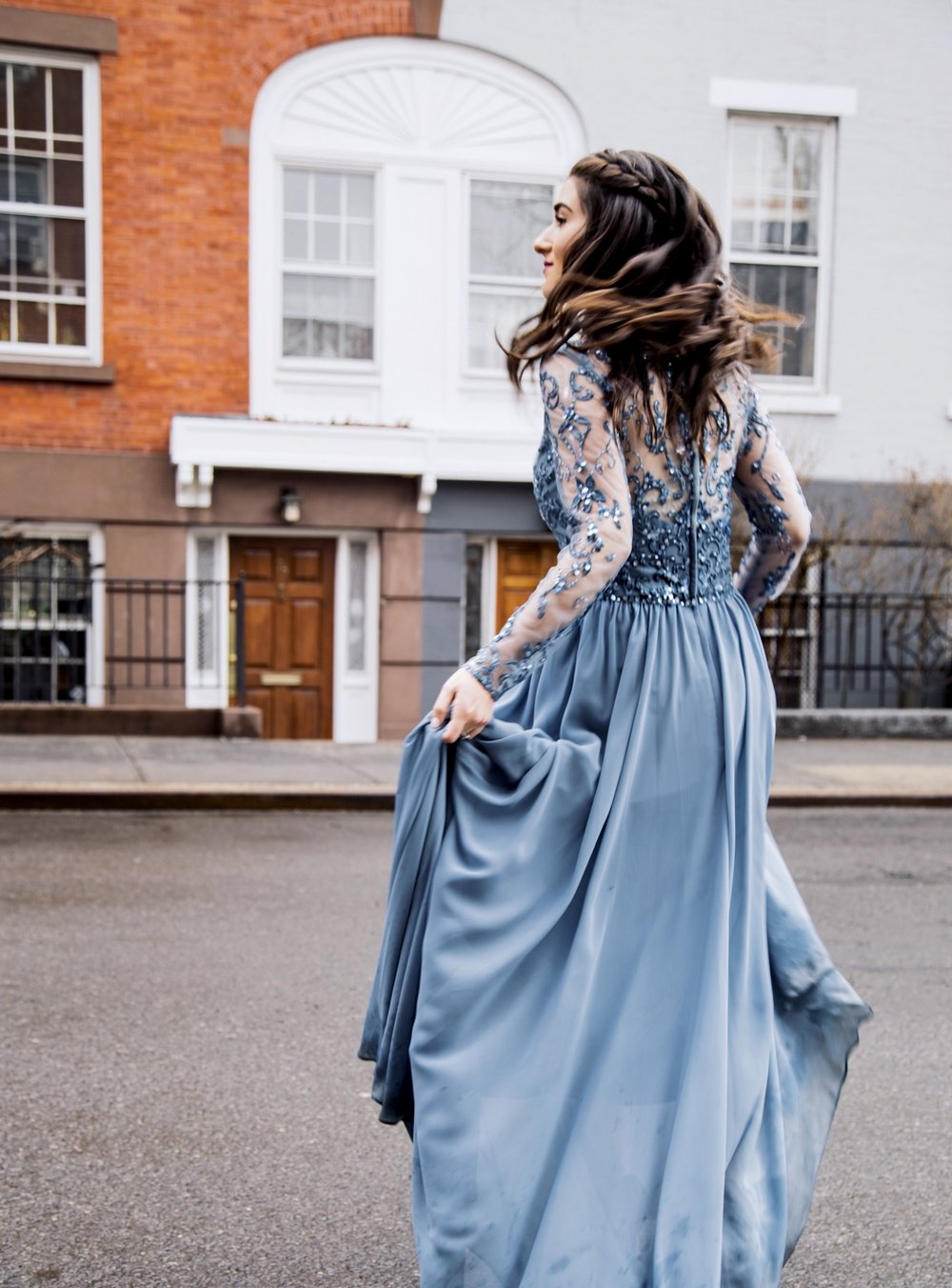 Princess Moments in Morilee Esther Santer Fashion Blog NYC Street Style Blogger Outfit OOTD Trendy Bridesmaid Dress Elsa Frozen Inspiration Braid Hair Women Girl Fancy Elegant Gorgeous Dressed Up Shopping Wedding Buy Blue Beaded  Sheer Long Sleeves.jpg