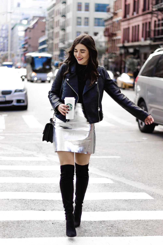 Metallic Mini Skirt Black Moto Jacket April 2018 Blogging Goals Esther Santer Fashion Blog NYC Street Style Blogger Outfit OOTD Trendy Silver H&M Girl Women Wavy Hair Brunette Starbucks Over The Knee Boots Shopping Winter Look Fall Shirt Bodysuit ASOS.jpg