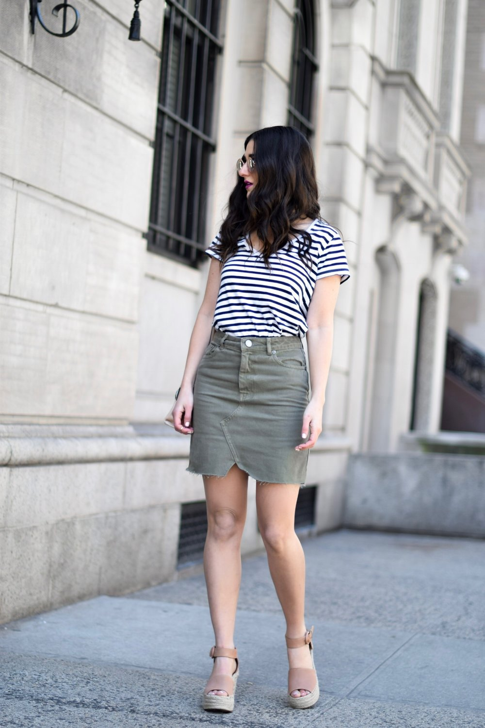 Striped Tee Khaki Skirt ASOS Sunnies Esther Santer Fashion Blog NYC Street Style Blogger Outfit OOTD Trendy Summer Sunglasses Shopping Hair Girl Women Espadrille Wedges Henri Bendel Purse Bag Accessories Rings Gold  Choker Necklace Green ASOS Zara Buy.jpg