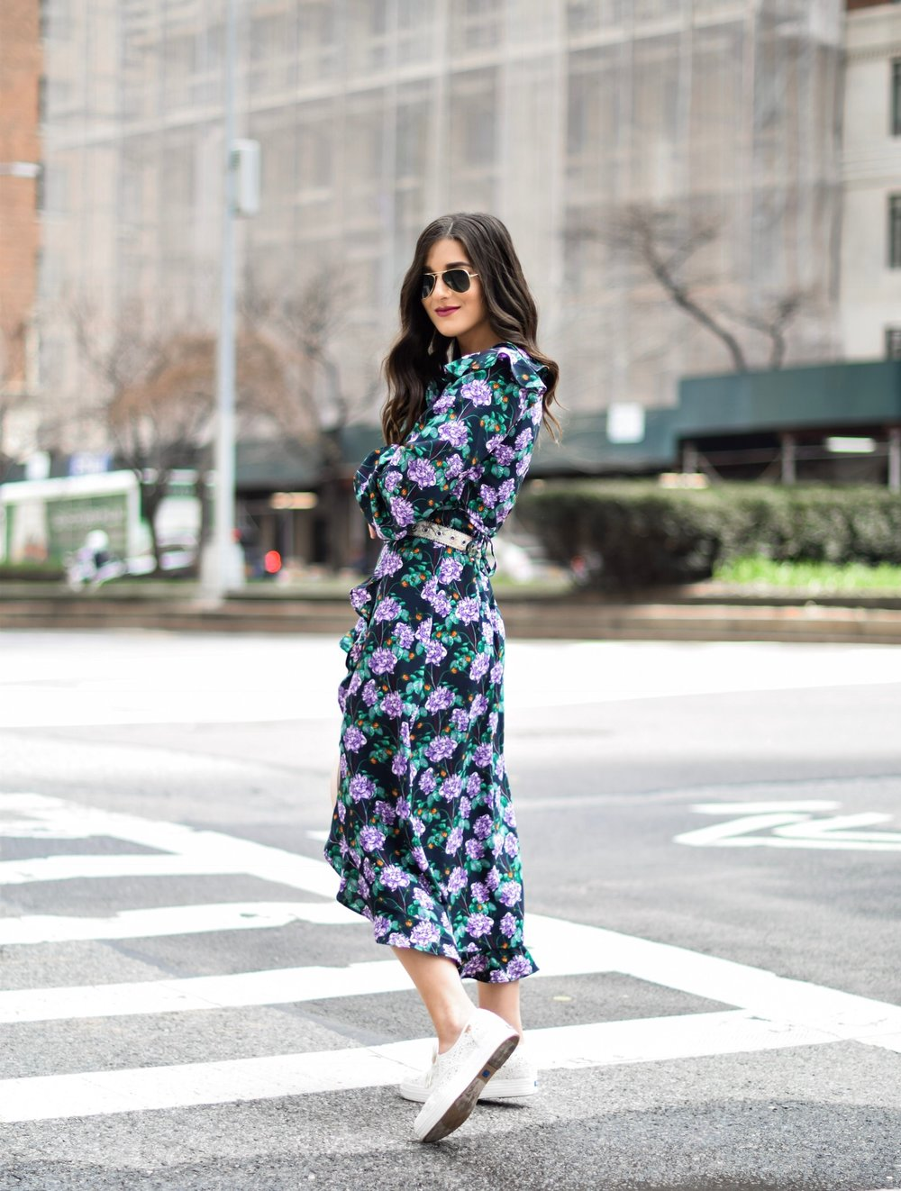 Embroidered Crochet Keds Floral Maxi Dress Zappos Esther Santer Fashion Blog NYC Street Style Blogger Outfit OOTD Trendy Shoes Collab  Lace White Embroidered Sneakers RayBan Sunglasses Aviators Maxi Dress Girly Feminine Sporty Vibes Look Summer Inspo.jpg