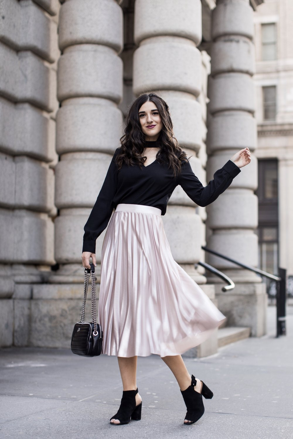 Metallic Midi Skirt Black Cutout Top How I Pack In A Carry On Esther Santer Fashion Blog NYC Street Style Blogger Outfit OOTD Trendy Feminine Girly Spring Hairstyle Waves Travel Tips Honeymoon Photshoot Pose Wearing Shop Peep Toe Booties Henri  Bendel.jpg