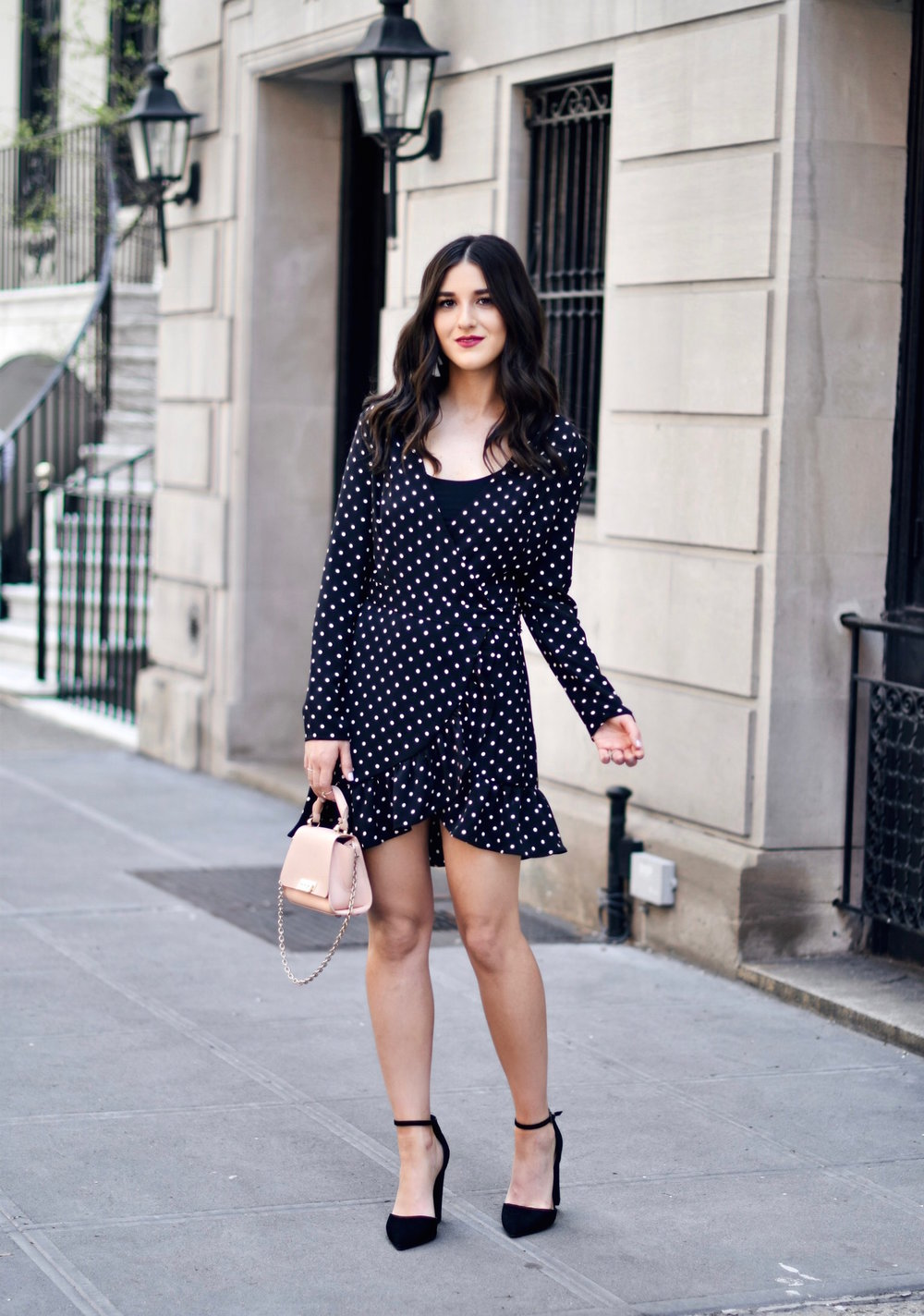 Polka Dot Wrap Dress Statement Earrings My 5 Blogging Rules While On My Honeymoon Esther Santer Fashion Blog NYC Street Style Blogger Outfit OOTD Trendy Kendra Scott ASOS Travel Content Married Husband Happy Summer Bag Beautiful Pointy Toe Ankle Strap.JPG