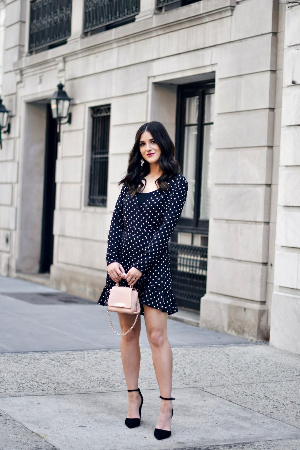 Polka Dot Wrap Dress Statement Earrings My 5 Blogging Rules While On My Honeymoon Esther Santer Fashion Blog NYC Street Style Blogger Outfit OOTD Trendy Kendra Scott ASOS Travel Content Married Husband Happy Beautiful Summer Pointy Toe Ankle Strap Bag.JPG