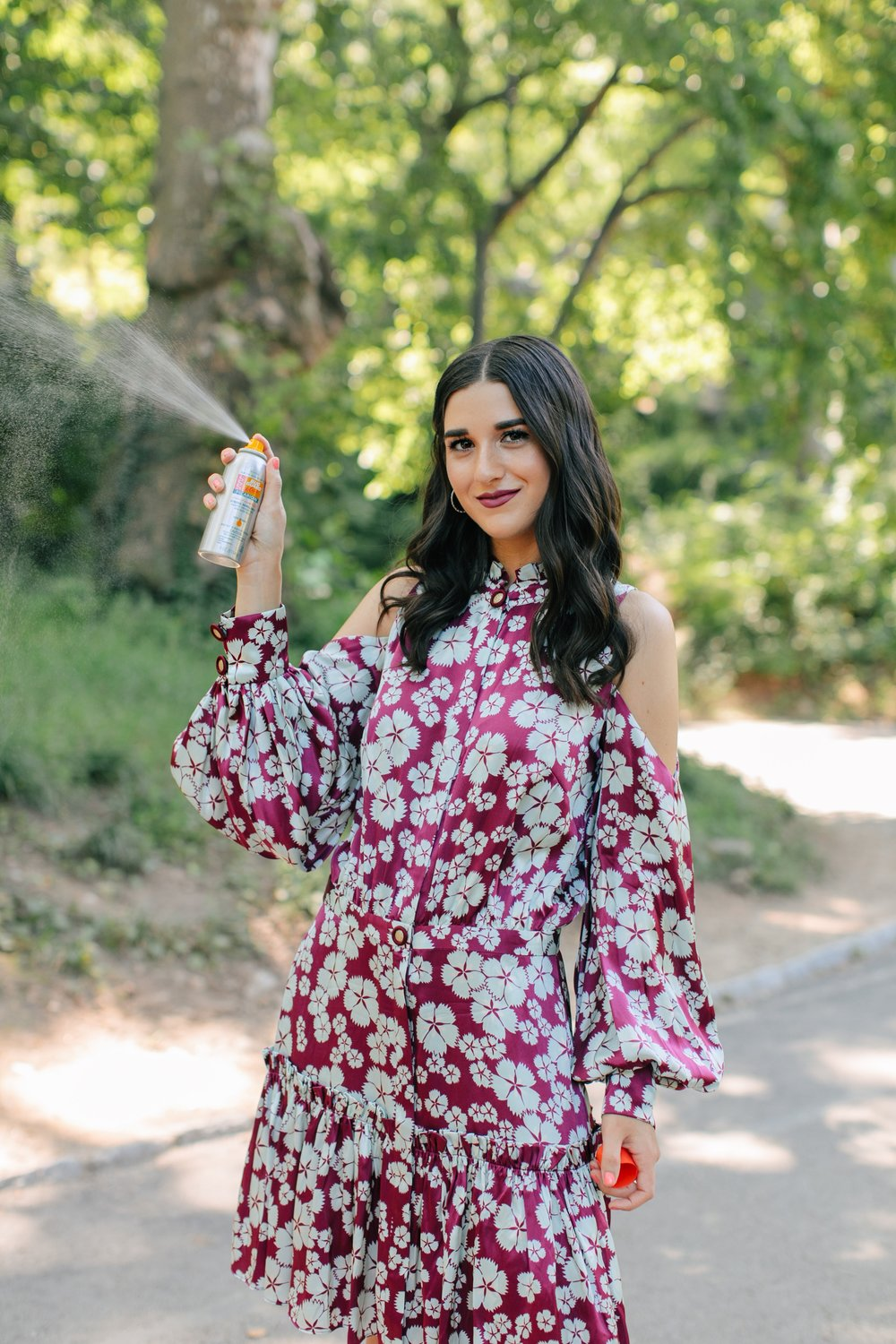 Bring On The Bug Spray Avon Bug Guard Esther Santer NYC Street Style Blogger Outdoors Adventure Explore Upstate New York Central Park Printed Dress  Designer Product Review Button Front Photoshoot Brand Collab Beauty Skincare Cold Shoulder Circle Bag.jpg